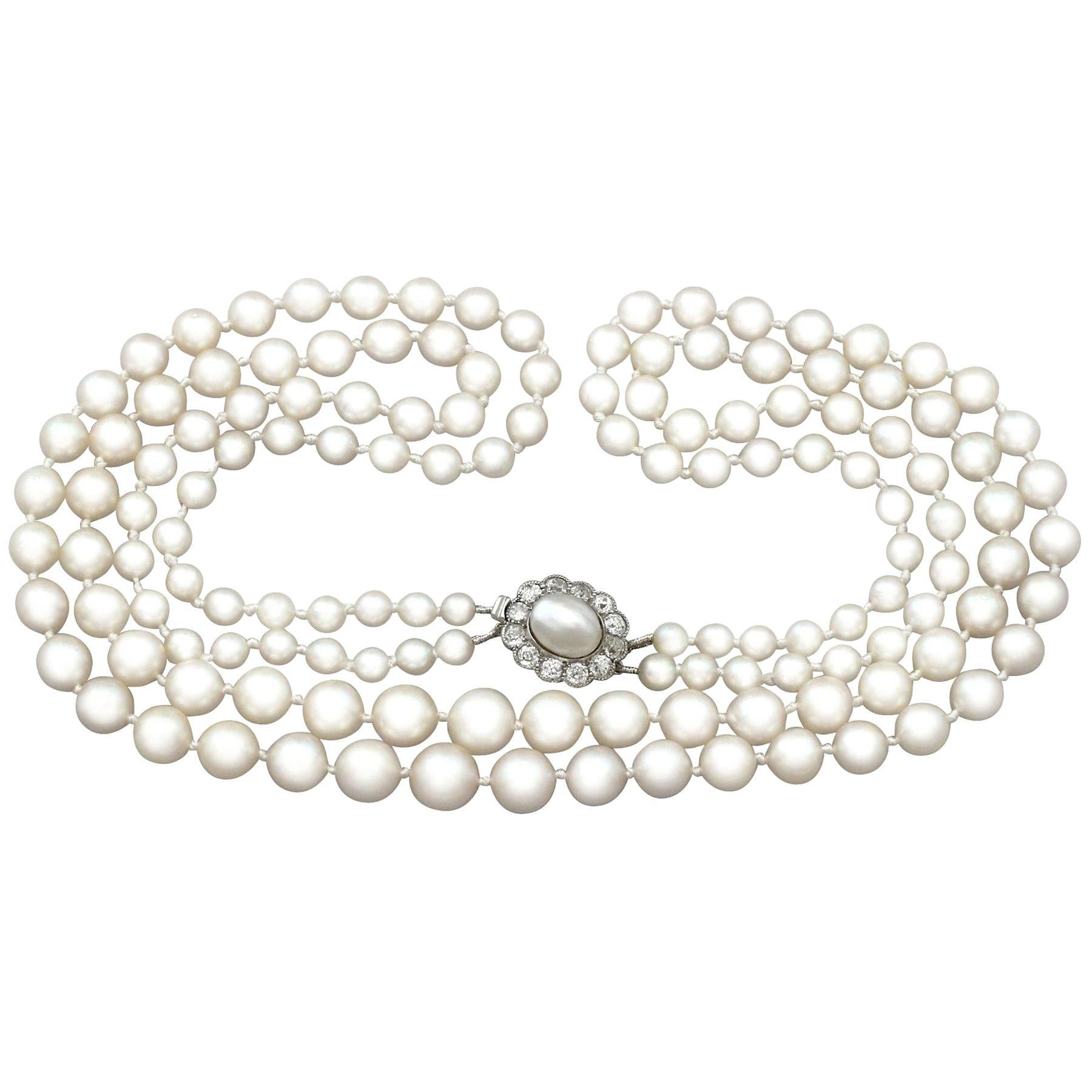 Double Strand Pearl and Diamond Yellow Gold Necklace