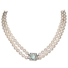 Double Strand Pearl and Opal and Diamond, White Gold Necklace