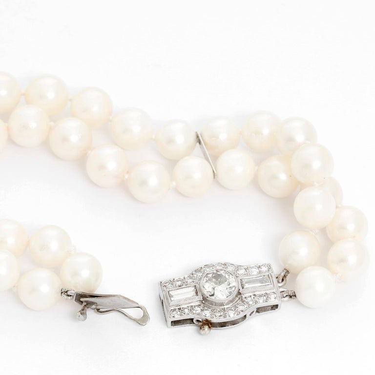 Art Deco Double Strand Pearl Bracelet with Diamonds For Sale