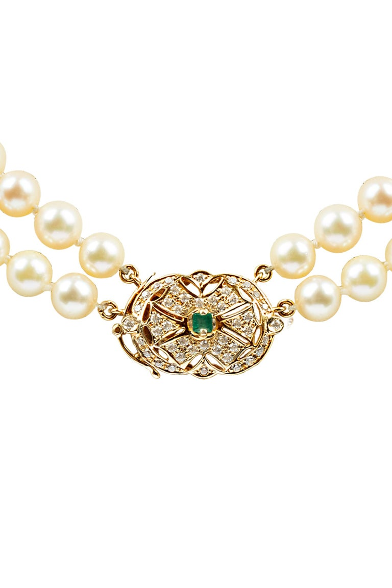 Emerald Cut Double Strand Pearl Diamond and Emerald Necklace For Sale