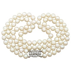 Double Strand Pearl Necklace with 1.78 Carat Diamond Set Clasp