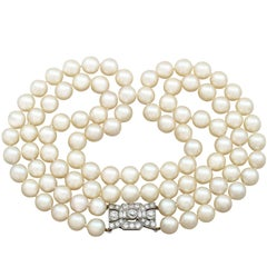 Double Strand Pearl Necklace with 1.78 Carat Diamond Set Clasp Antique & Vintage