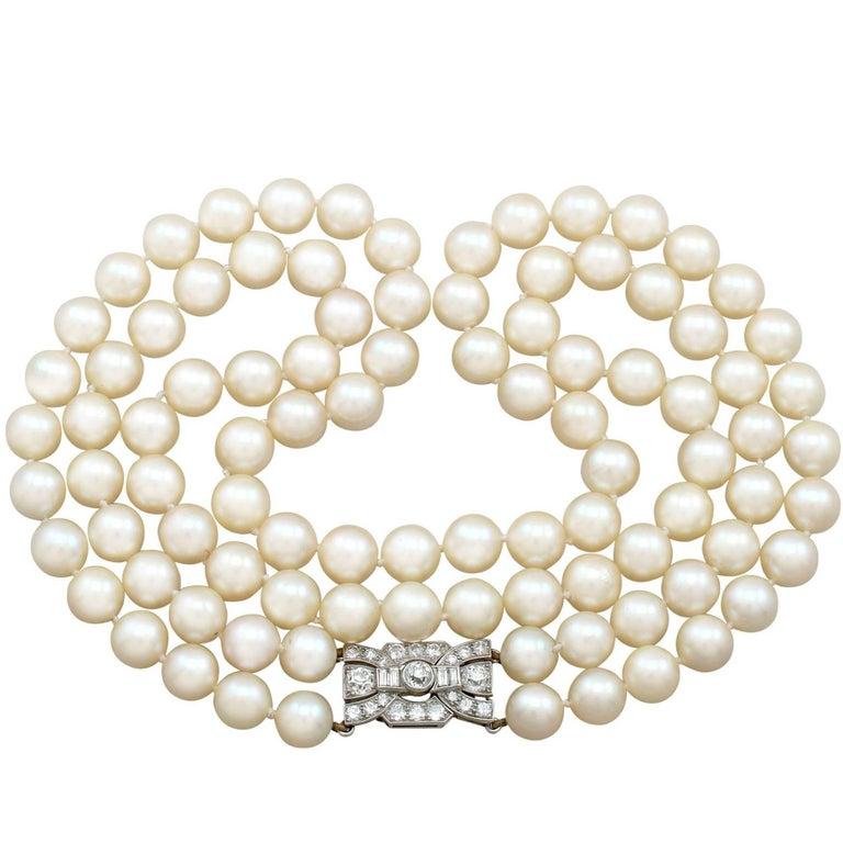 Double Strand Pearl Necklace with 1.78 Carat Diamond Set Clasp Antique & Vintage