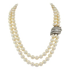 Double Strand Diamond Pearl White Gold Rivière Necklace