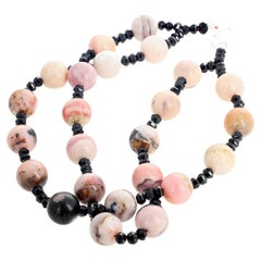 Rare Double Strand Peruvian Opals and Sparkling Black Spinel Necklace