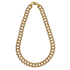 Double Swirl Yellow Gold Chain Link Necklace