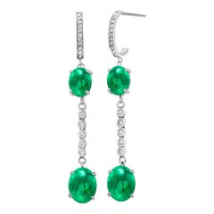 Double Tier Cabochon Emerald and Diamond White Gold Hoop Drop Earrings
