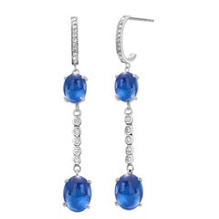 Double Tier Cabochon Sapphire and Diamond White Gold Hoop Drop Earrings