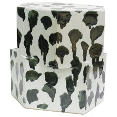 Double Tier Contemporary Ceramic Hexagon Side Table in Drippy Silver