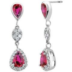 Double Tier Diamond Ruby Gold Drop Earrings Weighing 2.86 Carat