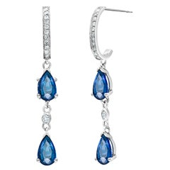 Double Tier Pear Shaped Blue Sapphire Diamond Drop Hoop Gold Earrings