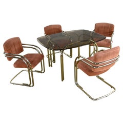 Double Tube Brass Plate Cantilever Chairs Smoked Glass Top Table by Douglas Furn