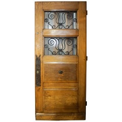 Double Window Door with Decorative Knob Plate