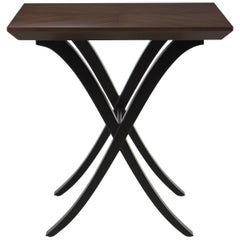 Double X Side Table with Mahogany Top