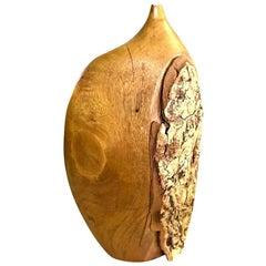 Doug Ayers Signed California Artist Large Organic Wood Turned Weed Vase