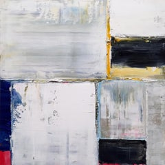 'Screens' Abstract Grid Painting Featuring gold, Black, Grey, Blue and Yellow