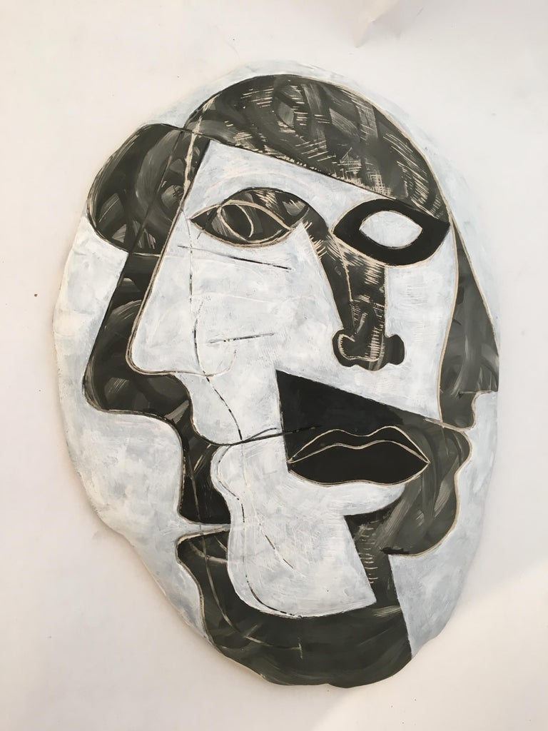 Doug Rochelle La Mano Bisque fired plaque in black, white and gray glazes, circa 2001. Excellent original condition.  About the Artist Doug Rochelle came to New York in 2001 from Kansas City and got a job as a waiter, working nights. Doug joined