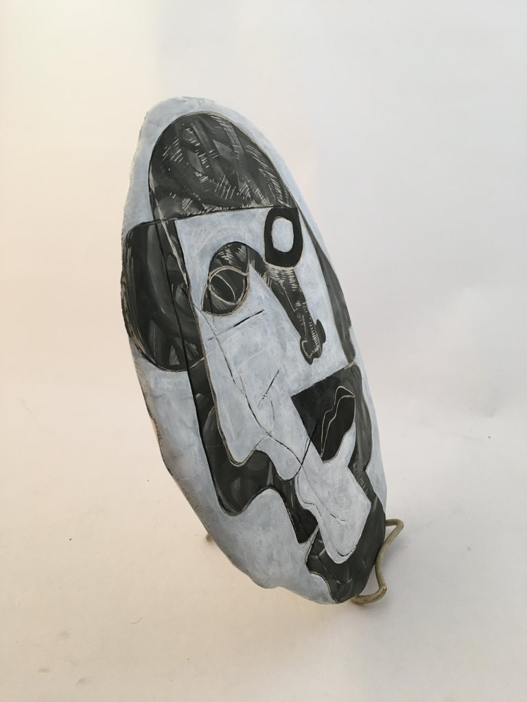 American Doug Rochelle La Mano Pottery Cubist Mask For Sale