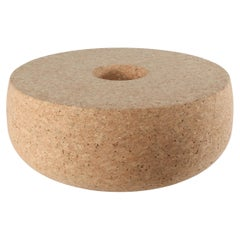 Doughnut Solid Cork Contemporary Sculptural Carved Coffee Table Bench Natural