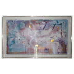 Douglas Eisman Painting Framed in Incredible Thick Lucite + Gold Trimmed Frame