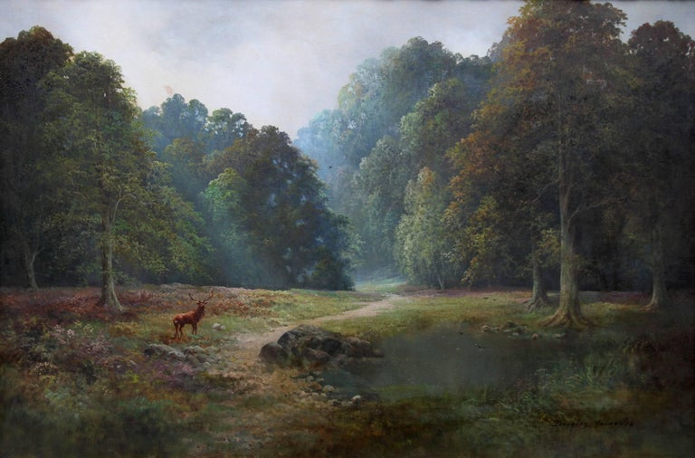 Balmoral Deer - British sixties oil painting Scottish landscape Queens residence - Painting by Douglas Falconer