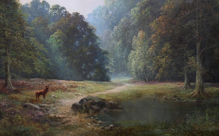 Balmoral Deer - British sixties oil painting Scottish landscape Queens residence - Realist Painting by Douglas Falconer