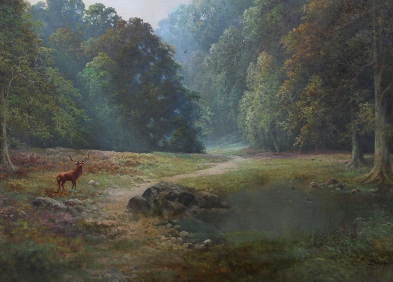 A super British circa 1960 oil on canvas by Douglas Falconer.  The painting depicts a colourful vibrant large landscape with The Monarch of the Glen at  Balmoral, the Queens Scottish estate. The deer look right out at us. A top quality realist oil