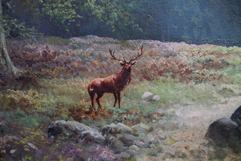 Balmoral Deer - British sixties oil painting Scottish landscape Queens residence For Sale 2