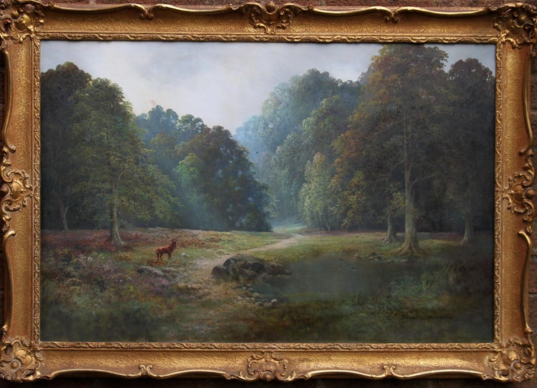Balmoral Deer - British sixties oil painting Scottish landscape Queens residence For Sale 5