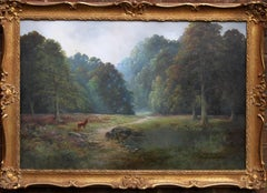 Balmoral Deer - British sixties oil painting Scottish landscape Queens residence