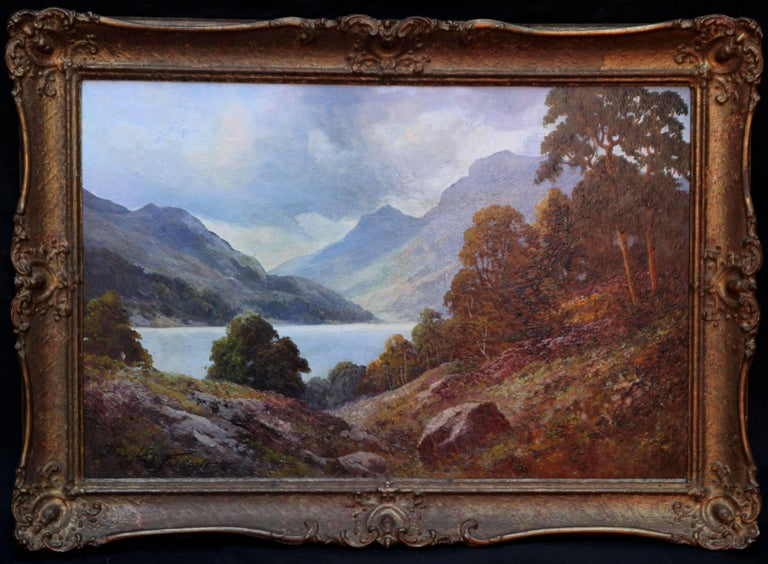 Douglas Falconer Landscape Painting - Loch Lubenig - British sixties art oil painting Scottish loch highlands Scotland
