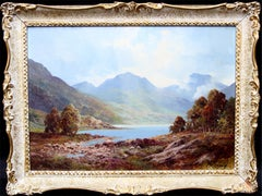 Loch Tulloch - British 60's art oil painting Scottish landscape Scotland