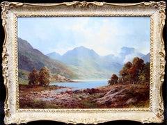 Loch Tulloch - British 60's art oil painting Scottish landscape Scotland
