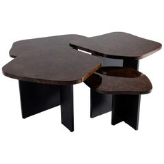 Douglas Fanning, Set of Four Burled Walnut Nesting Tables, United States, 2019