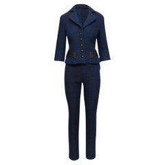 Douglas Hannant Blue & Black Leather-Trimmed Suit