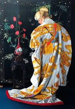 JAPANESE KIMONO Hand Drawn Lithograph, Blonde Woman Portrait, Silk Kimono