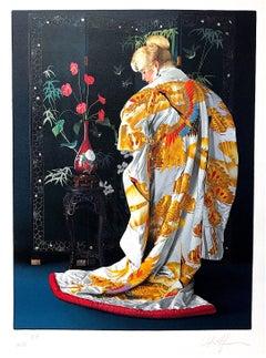 JAPANESE KIMONO Hand Drawn Lithograph, Blonde Woman Portrait, White & Gold Silk