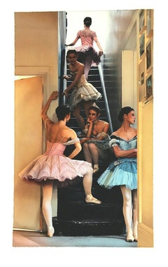 WAITING IN THE WINGS Signed Lithograph, Dance Portrait, Ballet, Pink Blue Tutus