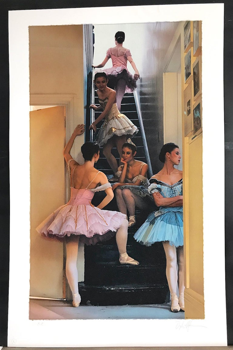WAITING IN THE WINGS Signed Lithograph, Dance Portrait, Ballet, Pink Blue Tutus For Sale 1