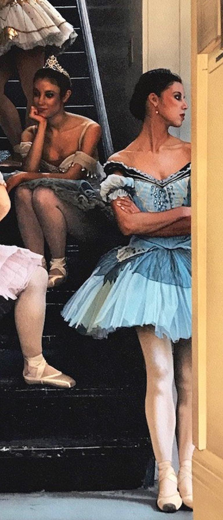 WAITING IN THE WINGS Signed Lithograph, Dance Portrait, Ballet, Pink Blue Tutus - Photorealist Print by Douglas Hofmann