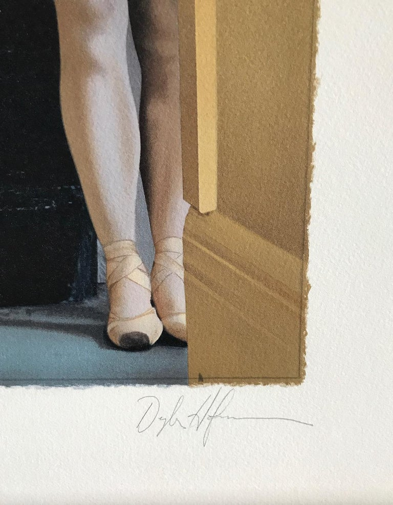 WAITING IN THE WINGS is an original hand drawn lithograph by the photorealist American painter Douglas Hofmann printed using hand lithography techniques on archival Arches paper, 100% acid free. WAITING IN THE WINGS expresses a moment in the