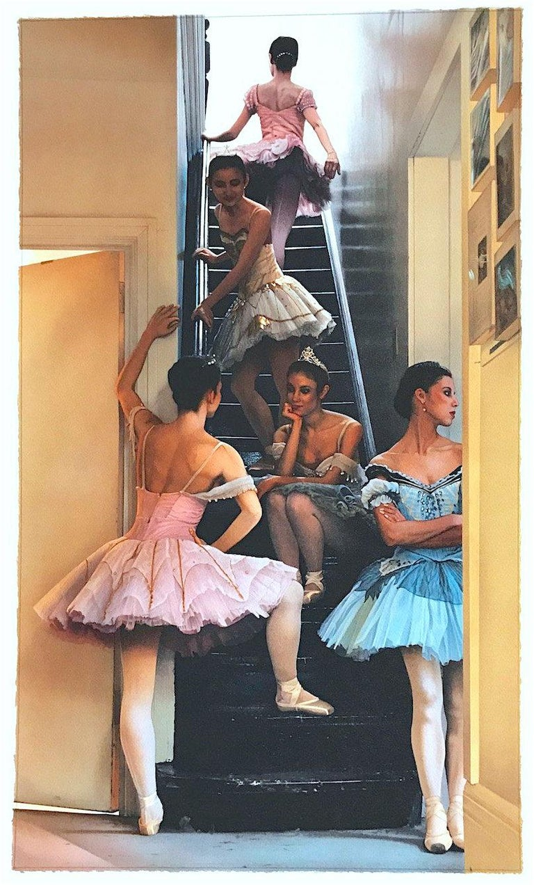WAITING IN THE WINGS Signed Lithograph, Dance Portrait, Ballet, Pink Blue Tutus - Print by Douglas Hofmann