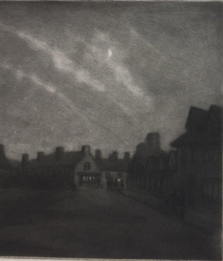 Moonlight, Rye - Black Figurative Print by Douglas Ion Smart, R.E.
