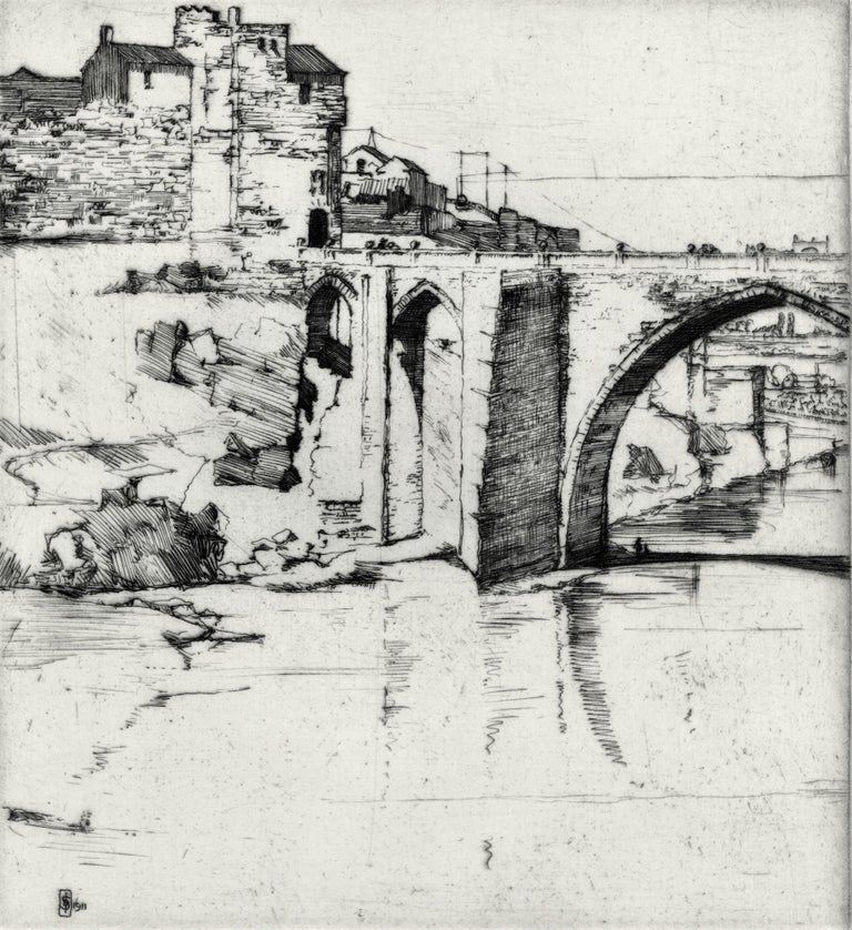 Toledo Bridge, No. 5. 1911. Etching and drypoint. 7 1/2 x 7 (sheet 10 5/16 x 7 1/2). A rich impression printed on cream wove paper. Monogrammed and dated lower left in the plate. Titled in pencil, lower left. Signed in pencil, lower right.