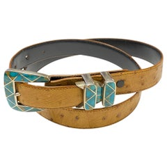 Douglas Magnus Heartline Turquoise Inlay Sterling Silver Buckle Leather Belt