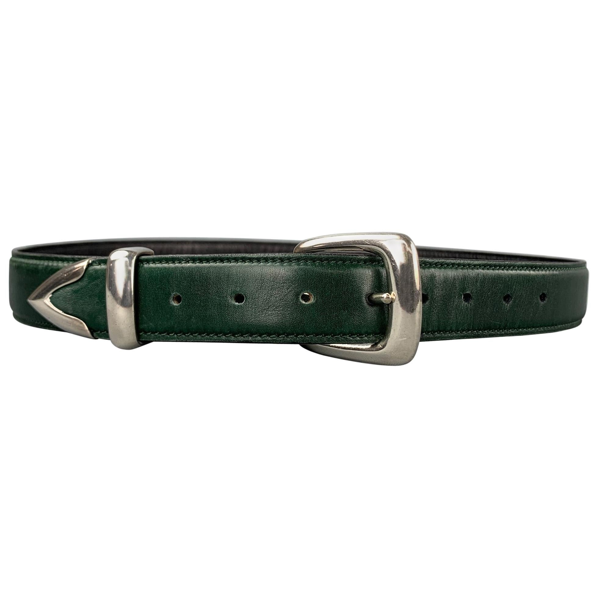 DOUGLAS MAGNUS Size S Dark Green Sterling Silver Leather Heartline Belt