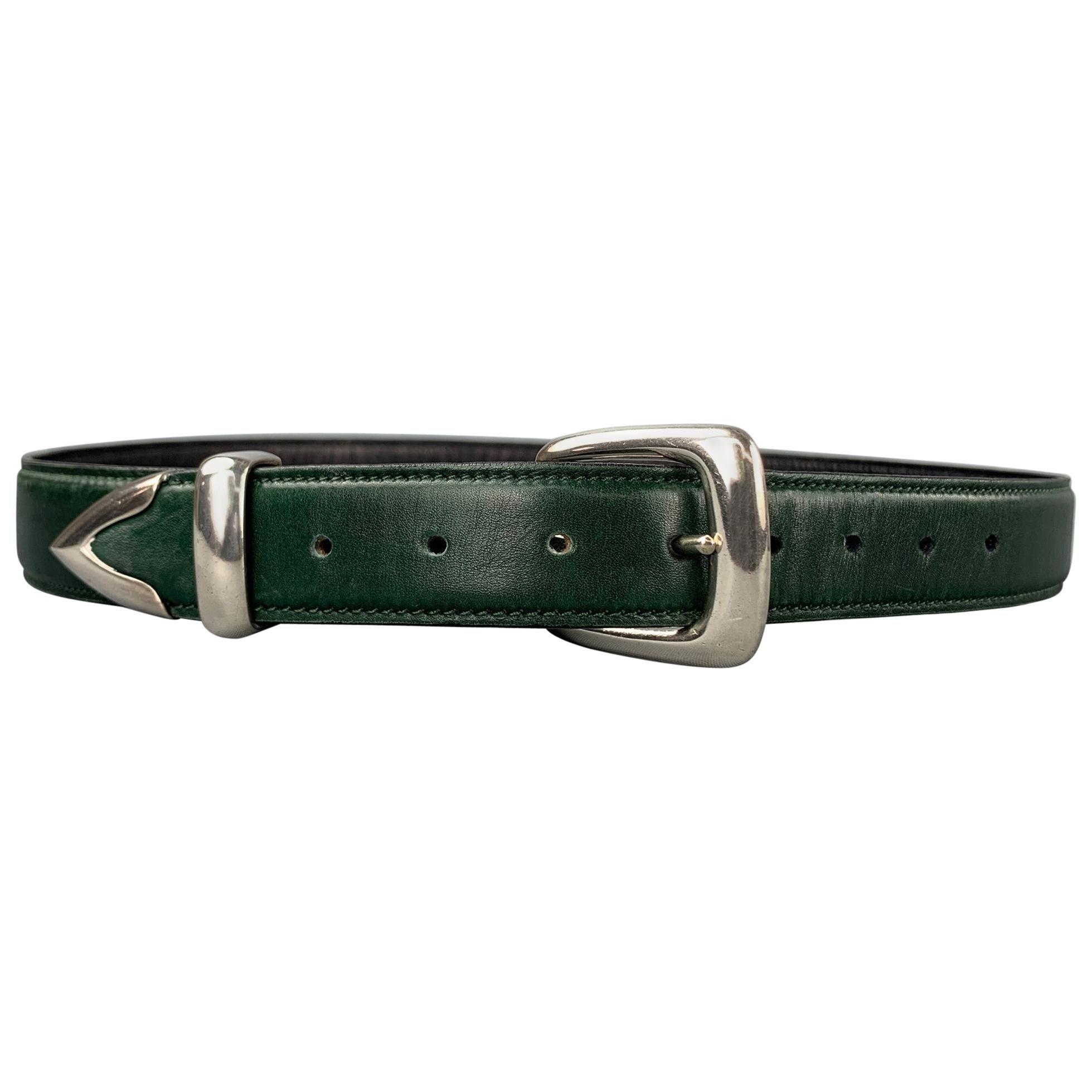 DOUGLAS MAGNUS Size S Dark Green Sterling Silver Leather Heartline Belt