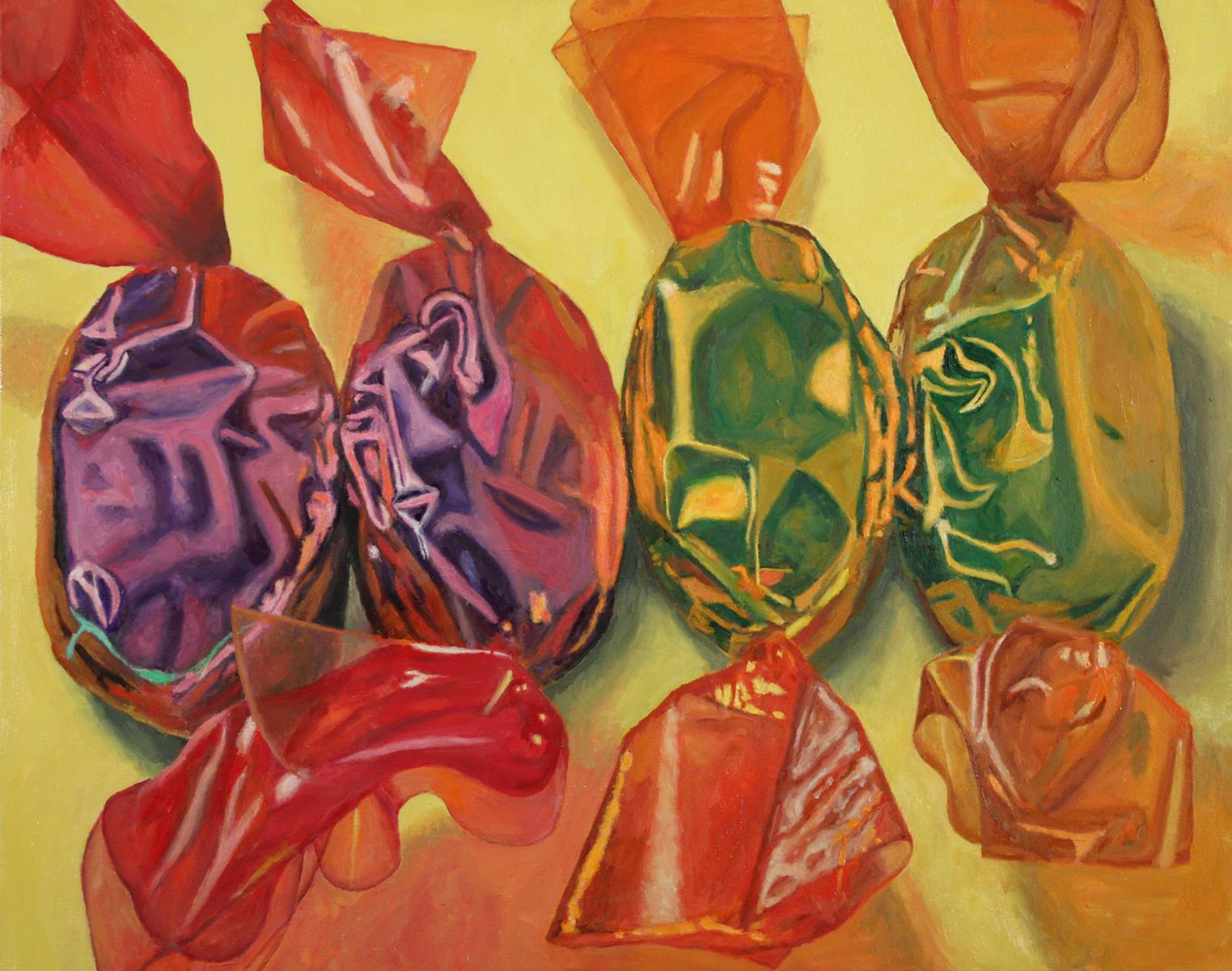 Candy on Yellow, colorful super realism candy food