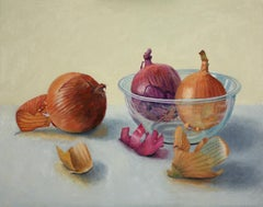 Onions and Glass Bowl, super realistic oil painting food still life