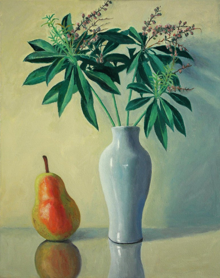 Douglas Newton Still-Life Painting - Pear with Andromeda